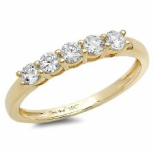 0.4 Round Cut Solitaire Promise Bridal Engagement Wedding Band 14K Yellow Gold