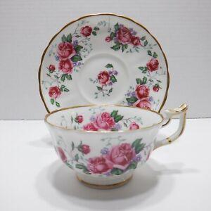 Vintage Royal Chelsea Cabbage Rose Teacup and Saucer