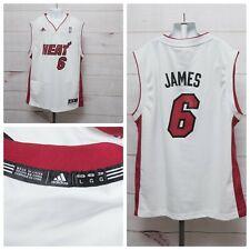 Lebron James Miami Heat #6 Jersey Adidas Boys Size L White NBA
