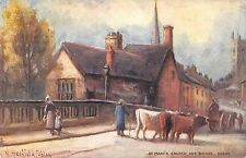BR101574 st mary s church and bridge derby cow postcard painting  uk