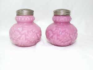 Pair of Antique Pink Cased Art Glass Salt & Pepper Shakers with Floral Motif