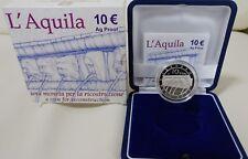 2009 Italia 10 Euro Aquila Basilica Collemagno Argento Fondo Specchio Proof