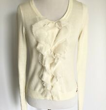 HOLLISTER CREAM IVORY RUFFLE FRONT LONG SLEEVE BUTTON SWEATER CARDIGAN MEDIUM