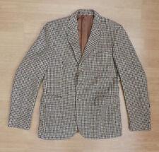 Men's Burton Harris Tweed De Colección Chaqueta Blazer Houndstooth Verde Crema R1-17