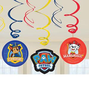 6 x Paw Patrol Childrens Birthday Hanging Swirl Decorations Puppy Party