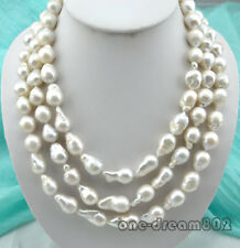 "Natural 3Strands 23mm white reborn keshi baroque pearl necklace 18""-22"""