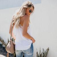 Fashion Sleeveless V-Neckline Lace Up Camisole Slimming Ladies Tops T-Shirts US