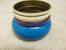 Four brass backed bangles blue purple cream infill colour block