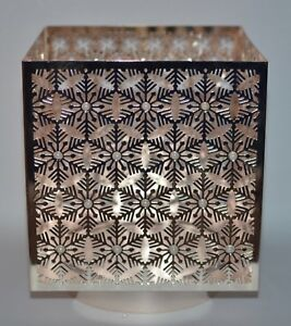 BATH BODY WORKS ROSE GOLD SNOWFLAKES LARGE 3 WICK CANDLE HOLDER SLEEVE 14.5 OZ