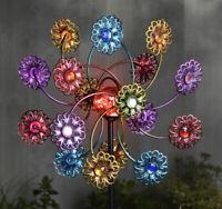 Solar LED Flower Orb Windmill Stake Light Metallic Decorative Garden Ornament