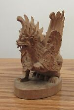 "Vintage Balinese? ornate carved wood dragon wings 4x3x2.5"" Indonesia"
