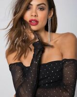 Naomi Off The Shoulder Bodice in Net Crystal Black by Motel Size Xs 8-10