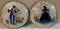 Lot of 2 Vintage Peter Watson Hand Painted Bubble Glass Lady/Gentleman Wall Art