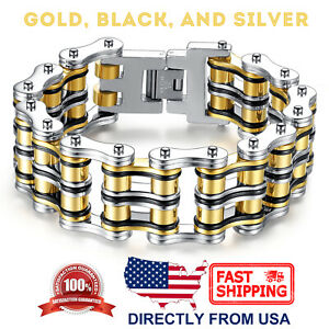 Mens Stainless Steel Large and Heavy Bicycle Chain old Masculine Biker Bracelet