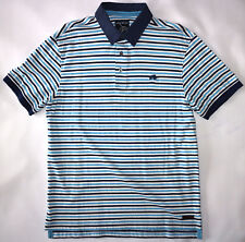 RAGING BULL MENS STRIPE JERSEY POLO SHIRT IN BLUE SIZE M NWT