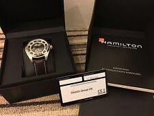 Hamilton Khaki Field Skeleton Automatic Watch with Dark brown strap