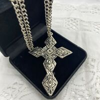 VINTAGE? Huge Cross Necklace Silver Tone Chain 68cm Chunky Crucifix Gothic Boho