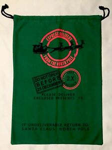 """Jumbo Christmas Gift Bag Santa Cotton Sack Drawstring 19"""" x 27"""", NWOT"""