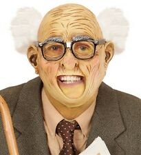 Grandpa Old Man with Hair Grandfather Fancy Dress 3/4 Face Mask with Open Mouth