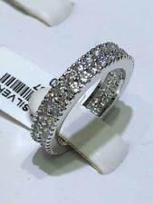 Platinum Sterling Silver White Sapphire Pave Eternity Design Band Rings Sz6