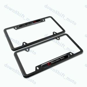 2pcs Brand New MERCEDES-BENZ 2018 2019 Black METAL license plate frame Stainless