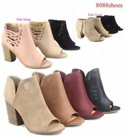 Women's Perforated Open Toe Chunky High Heel Booties Sandals Size 5.5- 11 NEW