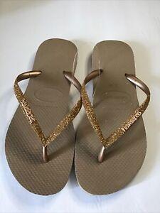 - Havaianas - Women's Glitter Straps Flip Flop Sandals - Gold US 39