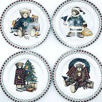 Sakura Debbie Mumm Christmas Plates Santa Bears Set of 4 Salad Dessert 1998 NIB