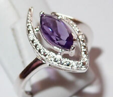 Amethyst marquis with White Topaz accents, 1.0ct, in Sterling Silver, Size O.