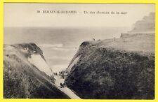 cpa 76 - BERNEVAL le GRAND (sur Mer) CHEMIN de la MER FALAISE Animée