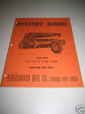 Kirschmann Chain Drive Press Drill Operator's Manual