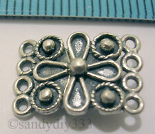 1x OXIDIZED STERLING SILVER FLOWER 4-STRAND CLASP 10mm x 14.6mm #840