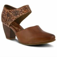 L'Artiste Toolie Women's Hand painted & tooled Brown leather heel Euro 40