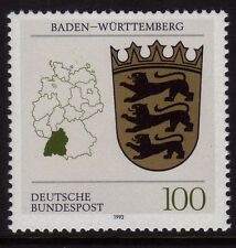 WEST GERMANY MNH STAMP SET BUNDESPOST BADEN-WURTTEMBERG LANDER ARMS 1992 SG 2437
