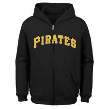 Pittsburgh Pirates Youth Boys Full Zip Hoody Sweatshirt - Black