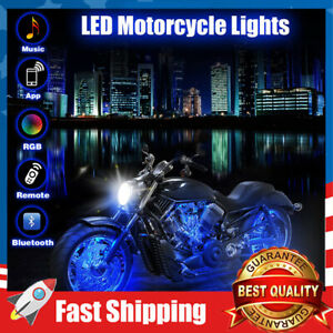 12PCS Motorcycle LED Lights with Bluetooth Wireless RC 18 RGB Neon Colors