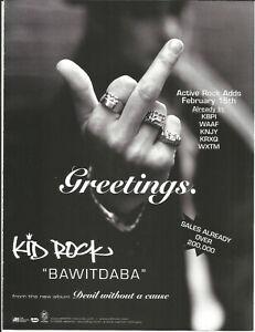 KID ROCK Ultra Rare Bawitdaba 1999 PROMO TRADE AD Poster for Devil CD MINT USA