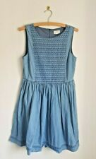 JOHNNIE B BODEN Blue Denim Dress Chambray Sleeveless Embroidered 15-16 Years