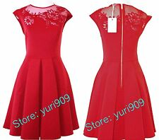 Ted Baker London Bright Red Dollie Embroidered Cut Out Dress Size 5 (US 12) $279