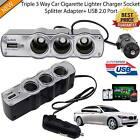 3 Socket DC12/24V Multi Socket Car Cigarette Lighter Splitter USB Plug Charger