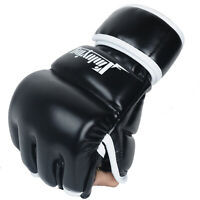 Martial Arts MMA Training Boxing Gloves PU Leather Half Finger Kickboxing 1 Pair
