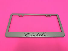 CADILLAC - STAINLESS STEEL Chrome Metal License Plate Frame Holder w/Screw caps