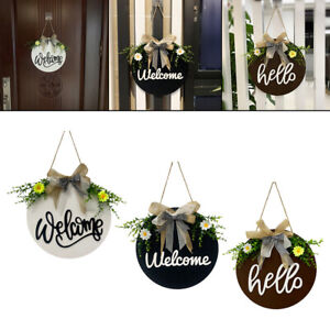 1X Rustic Round Flower Welcome Sign Wall Door Wreath Home Garden Porch Ornament