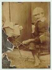 SUPER Orig Photo - Boy w Pipe Poses for Early Homemade Box Camera ca 1890