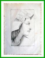 ✅Stampa incisione 1850s Testa volto d'Aspasia-Scuola di Atene di Raffaello CXCII
