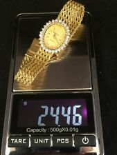 Geneve Diamond Watch 14k Yellow Gold 28 Round Brilliant .85ct Rope Mesh 24.6gram