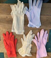 5 Vintage Ladies/Woman Fabric Gloves
