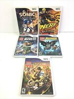 Wii Video Games Lot of 5 Lego Star Wars III, Batman, Indiana Jones, Sonic, Nerf