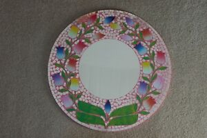 Superb Hand Crafted Mosaic Mirror With Tulips Design & Pink Background 60 Cm. W.