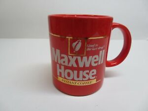 Maxwell House Coffee Mug red /gold Japan made. Vintage set of 2